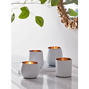 Four White & Brass Tea Light Holders 1124941
