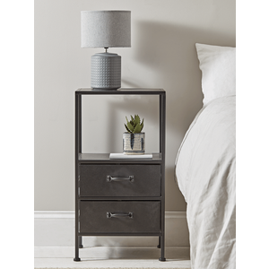 Industrial Two Drawer Bedside Table 1226504
