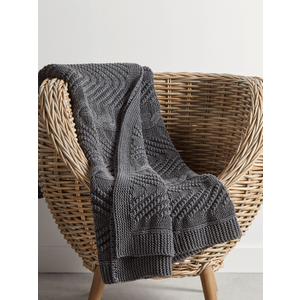 Cotton Cable Knit Throw - Charcoal 1827897