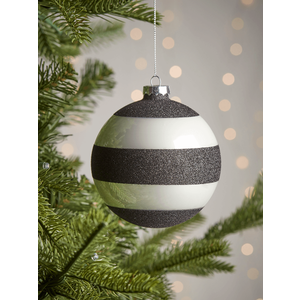 New Four Glittered Large Glass Baubles - Stripes 1027641