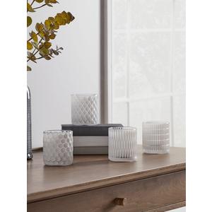 New Four White Geometric Tea Light Holders 1128254