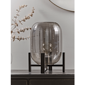 New Ribbed Smoked Glass Table Lamp 1326168 General Household