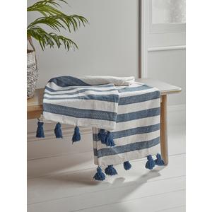 New Tasselled Blue Stripe Throw 1828245