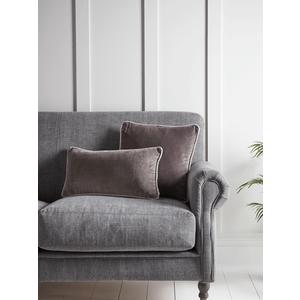 New Velvet Piped Rectangular Cushion - Grey 1829037