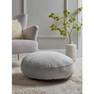 Velvet Round Floor Cushion - Soft Grey 1826440