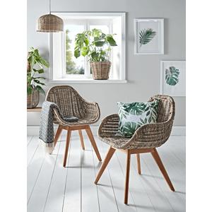 Round Rattan & Teak Dining Chair 1221880