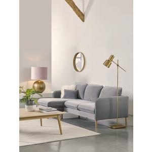 Scandi Midi Chaise Sofa Swedish Grey Cotton Velvet 1923079