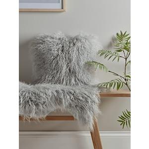 Tibetan Sheepskin Cushion - Soft Grey 1825399