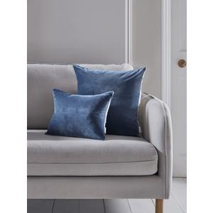Velvet & Linen Rectangular Cushion - Blue 1821899