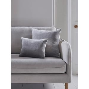 Velvet & Linen Rectangular Cushion - Dove Grey 1821963