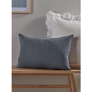 Washed Linen Rectangular Cushion - Soft Indigo 1825144
