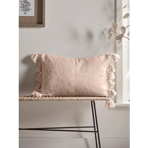 Woven Tasselled Cushion - Soft Blush 1827563