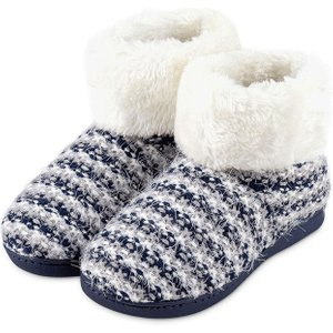 Isotoner Ladies Knit  Boot With Faux Fur Cuff Slippers Navy Uk Size 6 95585nav6web