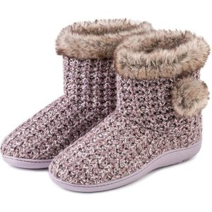 Isotoner Ladies Sparkle Knit Bootie Slippers Pink Uk Size 4 95530pnk4web