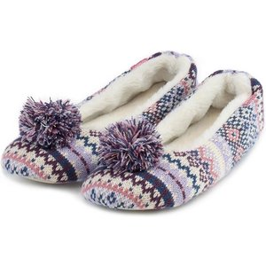 Totes Ladies Fair Isle Ballet Slippers Lilac/pink Small (uk 3-4) 3158alpksweb