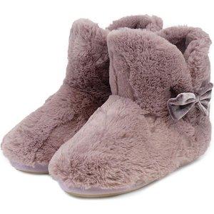Totes Ladies Textured Fur Bootie Slippers Mink Large (uk 7-8) 3118amnklweb