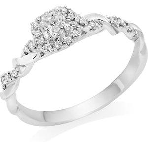 Beaverbrooks Entwine Platinum Diamond Cushion Cut Halo Ring 0119749