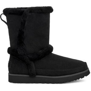Ugg Women's Classic Short Fluff Spill Seam Boot In Black, Size 8, Shearling, Black