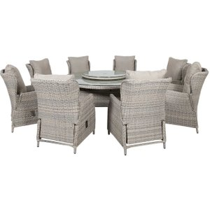 Alnwick Garden Reclining 8 Seat Round Dining Set With Woven Lazy Susan And Parasol, Grey W Barker And Stonehouse Awckset12020