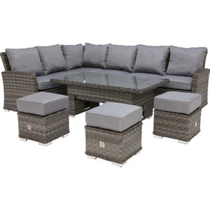Amberley Garden Corner Dining Set With Rising Table, Grey Weave And Grey Fabric Barker And Stonehouse Ambyset42020