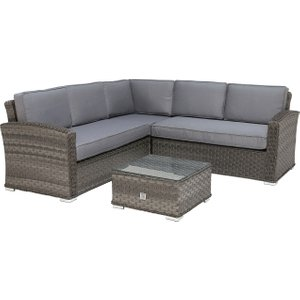 Amberley Garden Small Corner Sofa And Coffee Table, Grey Weave And Grey Fabric Barker And Stonehouse Ambyset12020