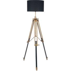 Antique Brass Tripod Floor Lamp, Dark Wood Barker and Stonehouse ANBR0882ST61