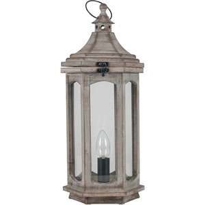 Antique Wood Lantern Table Lamp, Grey Barker and Stonehouse ANT33054ST62