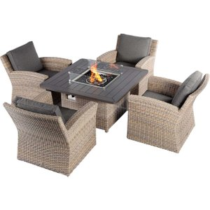 Calvia Garden 4 Seat Square Fire Pit Set, Driftwood Weave With Espresso Fabric Barker And Stonehouse Clvist10bulk