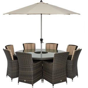 Canoga Park 8 Seat Round Garden Dining Set With Ice Bucket, Lazy Susan And Parasol, Brown  Barker And Stonehouse Cprkset1bulk