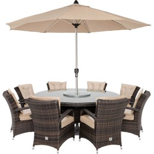 Clovelly 8 Seat Round Garden Dining Set With Ice Bucket, Lazy Susan And Parasol, Brown Wea Barker And Stonehouse Clvlset3bulk