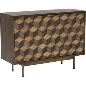 Facet 2 Door Sideboard, Dark Mango Wood And Brass Barker and Stonehouse 4CET0004TRBR