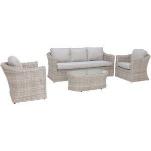 Hathaway 3 Seat Garden Sofa Set In Light Grey Weave And Grey Fabric Barker And Stonehouse Htwyset22021