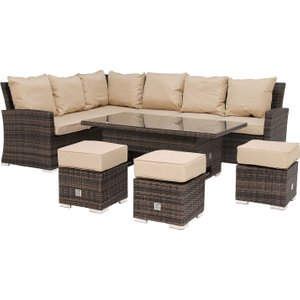 Kersey Corner Garden Dining Set With Rising Table In Brown Weave And Beige Fabric Barker And Stonehouse Krsyset1br21