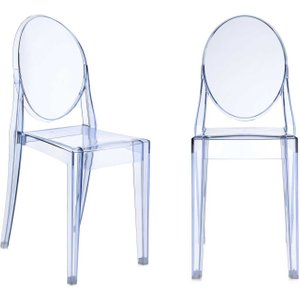 Pair Of Kartell Victoria Ghost Dining Chairs, Light Blue Barker And Stonehouse Vghodcx2blue