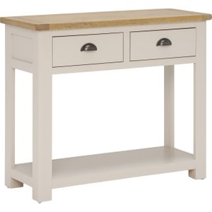 Wainwright 2 Drawer Console Table, Washed Rustic Oak And Linen Barker and Stonehouse 3WRGHT02WASH