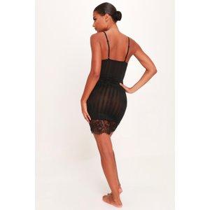 Isawitfirst.com Black Stripe Lace Slip Dress Set - L / Black Ia00394003 L Lingerie, BLACK