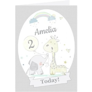 Personalised Hessian Giraffe And Elephant Birthday Card