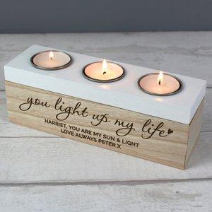 Personalised Tripple 'light Up My Life' Tea Light Holder