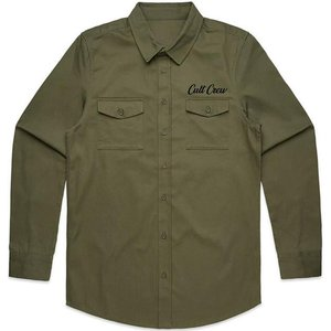 Cult Militant Button Up Shirt - Army Green