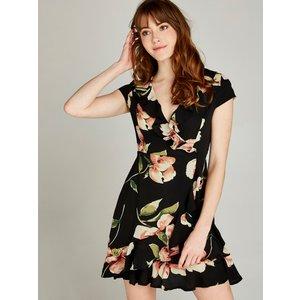 Apricot Black Bold Floral Ruffle Wrap Dress  5051839345065size8