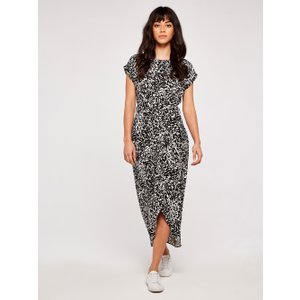 Apricot Black Brush Stroke Wrap Dress  5051839529908size18