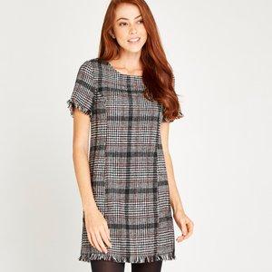 Apricot Black Check Shift Dress  5051839361676size8