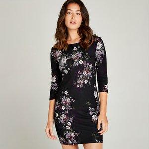 Apricot Black Floral Silhouette Tunic Dress  5051839216082size10