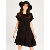 Apricot Black Ruffle Tiered Mini Dress  5051839465268size10
