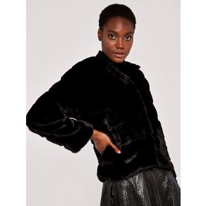 Apricot Black Tiered Fur Jacket  5051839494732size14