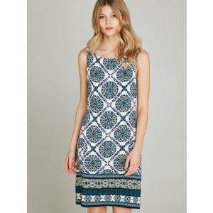 Apricot Blue Positano Tile Print Shift Dress  5051839312258size16