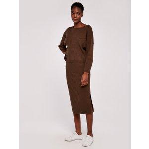 Apricot Brown Ribbed Midi Skirt  5051839543775size8