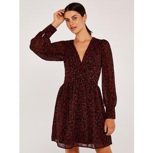 Apricot Burgundy Abstract Dot V Neck Cuff Sleeve Dress  5051839498594size8