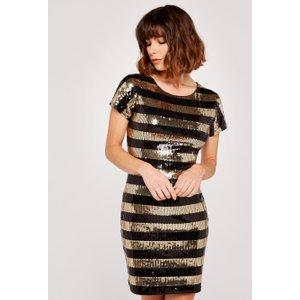 Apricot Gold Sequin Stripe Shift Dress  5051839539426size8