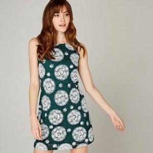 Apricot Green  Kaleidoscope Rubber Stamp Shift Dress  5051839420502size10